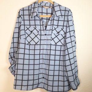 Coral Bay window pane blouse size 1X